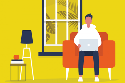 Stock illustration of man sitting on couch looking at laptop