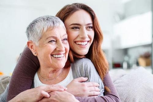 Stock image of mother and daughter
