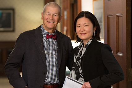 John Gunderson and Lois Choi-Kain pose in hallway