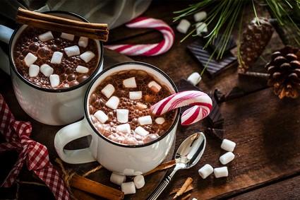 Hot chocolate on a festive table