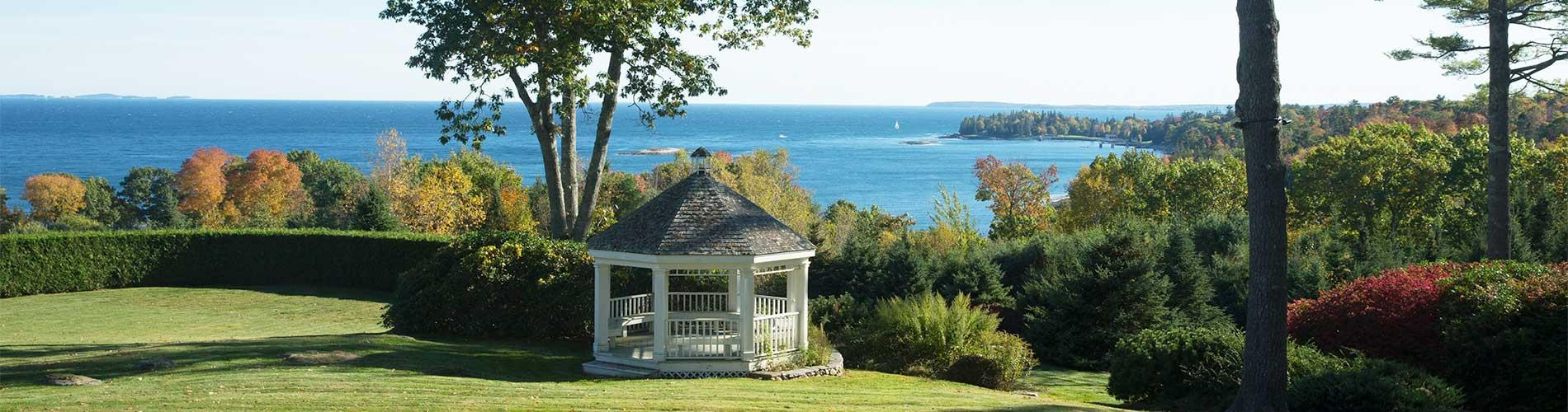 View of Penobscot Bay with gazebo in foreground