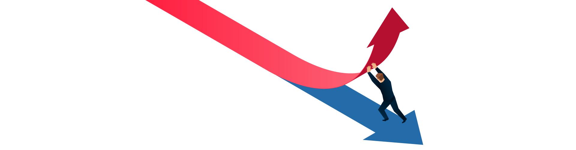 Illustration of man pushing red arrow