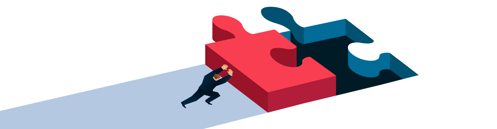 Illustration of person pushing red puzzle piece towards a puzzle piece hole