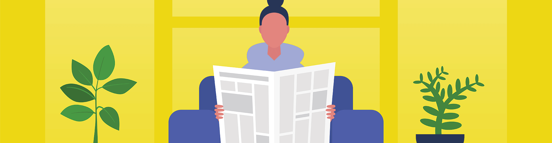 Illustration of young woman reading newspaper