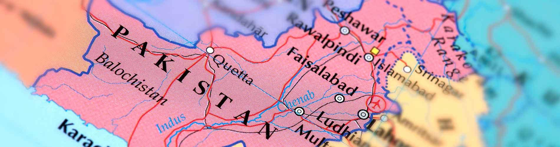 Closeup of map of Pakistan