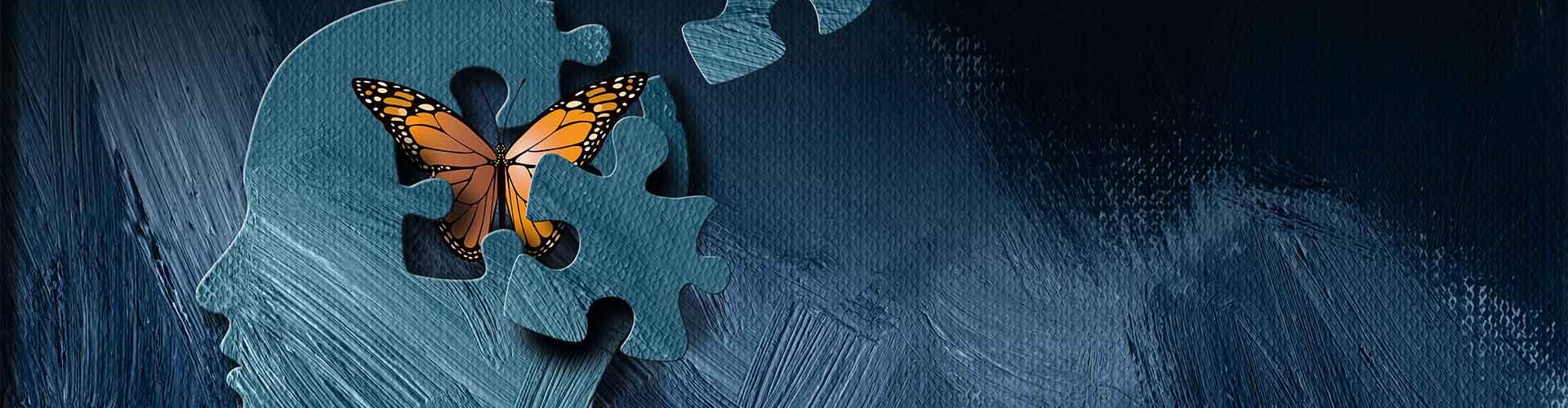 Graphic of head with puzzle pieces removed and butterfly inside