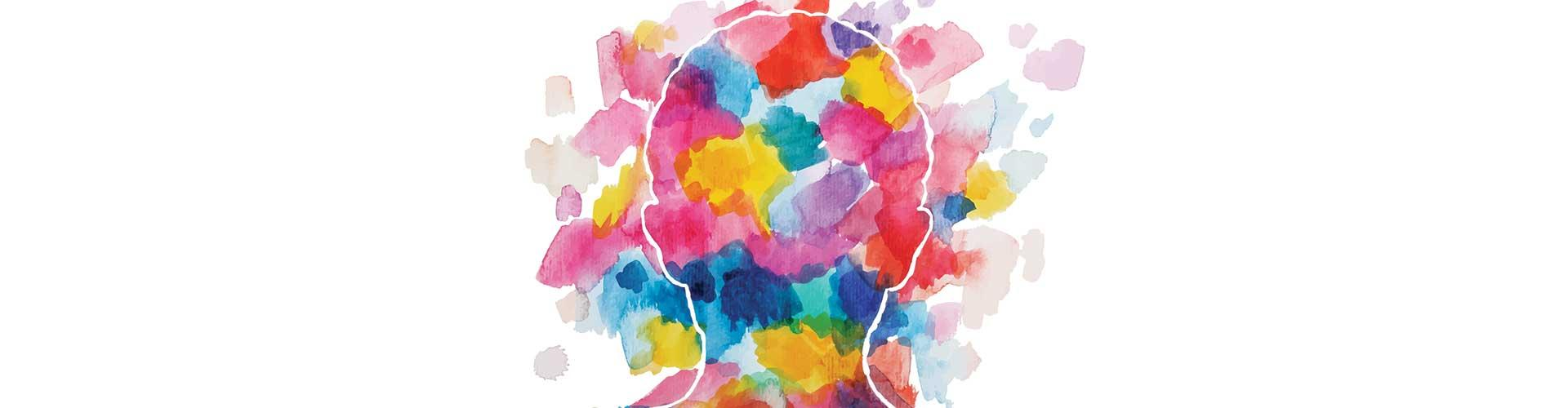 Illustration of child's head with watercolor background