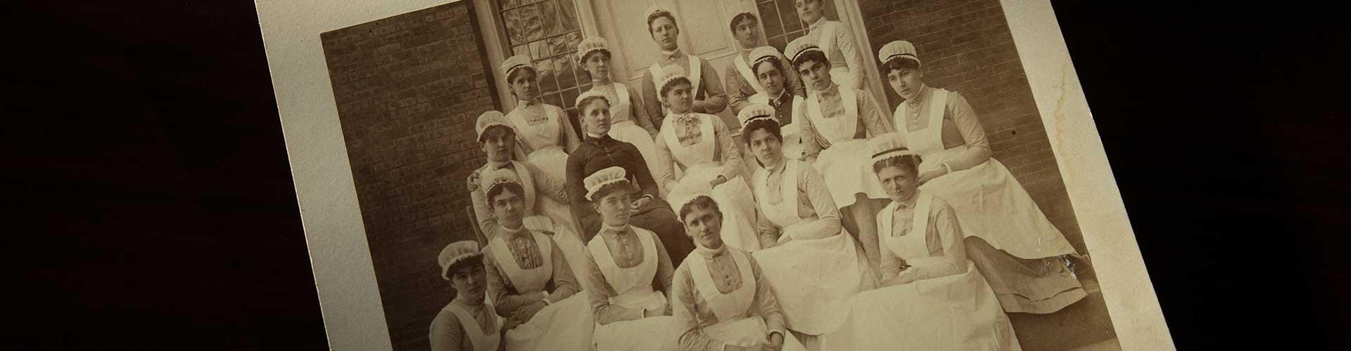 Historical photo of McLean's first nursing class