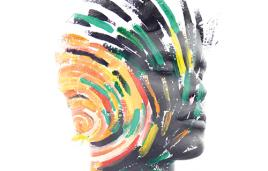Stock image of person in grayscale with swirls of color on head