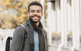 Stock image of young man college student
