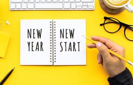 """Stock image of writing in journal """"New Year, New Start"""""""