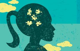 Illustration of silhouette of girl with puzzle pieces in her head
