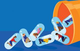 Stock illustration of pill bottle with pills with people in them falling out