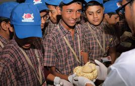 Students in Mumbai look at the human brain