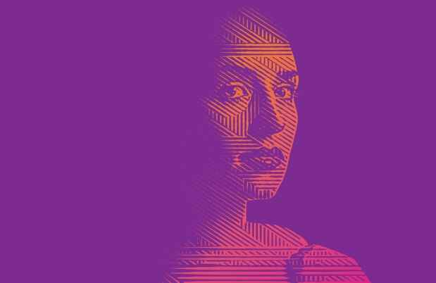 Photo illustration of woman on purple background